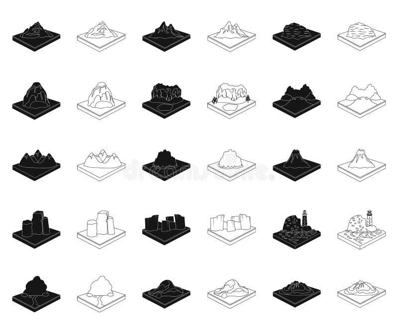 Montagnes, noir massif, icônes d'ensemble dans la collection réglée pour la conception r illustration stock