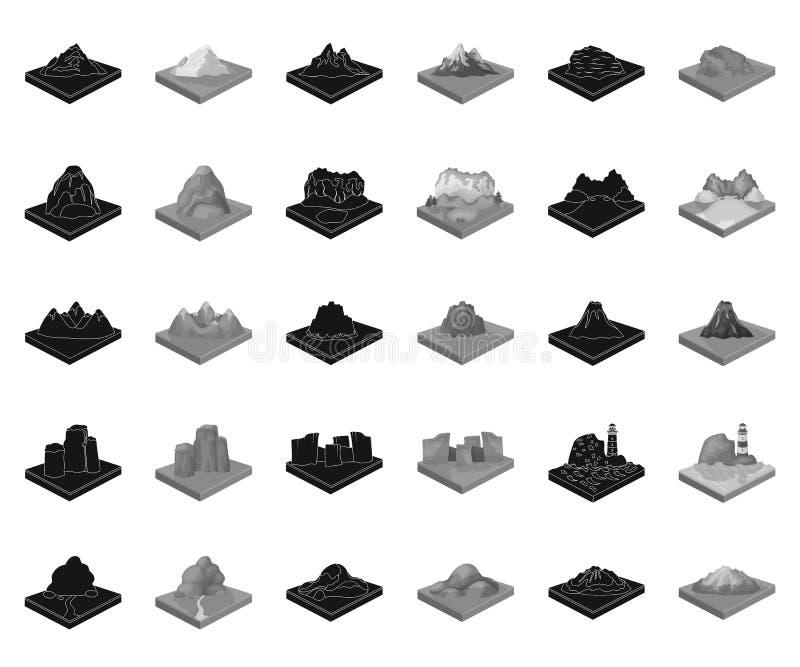 Montagnes, noir massif, icônes monochromes dans la collection réglée pour la conception r illustration libre de droits