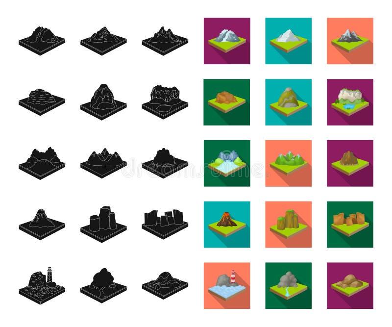 Montagnes, noir massif, icônes plates dans la collection réglée pour la conception La surface des actions isométriques de symbole illustration stock