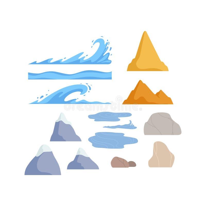 Montagnes, pierres de roche, illustration de vecteur d'éléments de conception de constructeur de paysage de nature de vagues illustration libre de droits