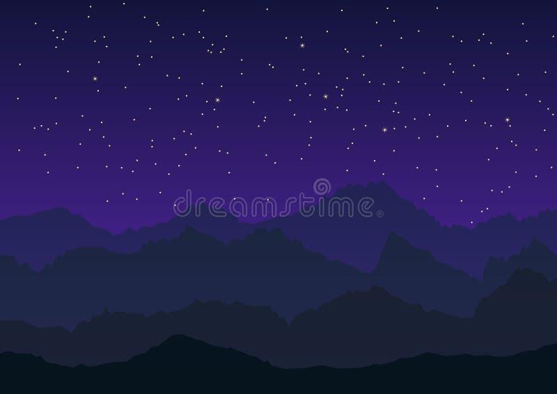 Montagnes sous le vecteur étoilé de ciel illustration stock