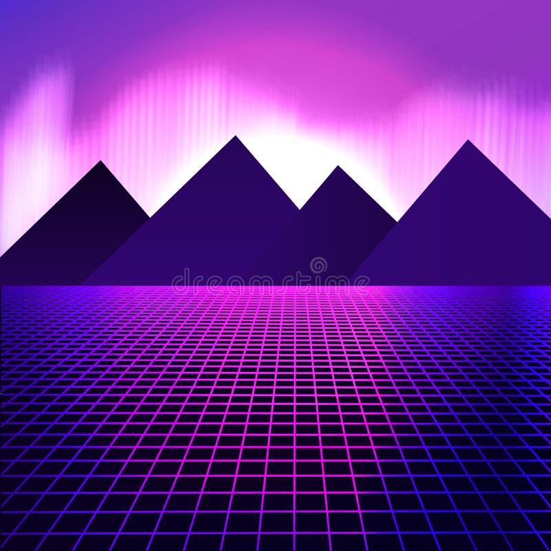 Montagnes sur un fond des lampes au néon roses illustration stock