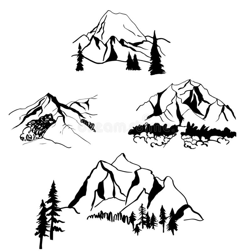 Montagnes tirées par la main Illustration de croquis de vecteur illustration libre de droits