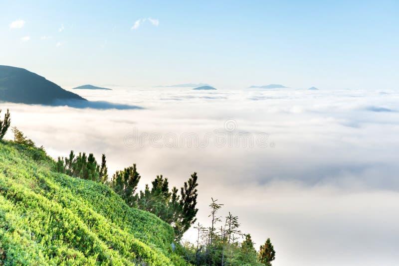 Montagnes vertes dans les nuages photos stock