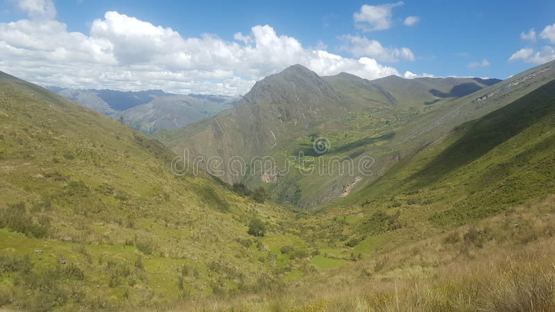 Montains Ancash peru. Ancash blue beatiful sky natural peru green montains cloud royalty free stock images
