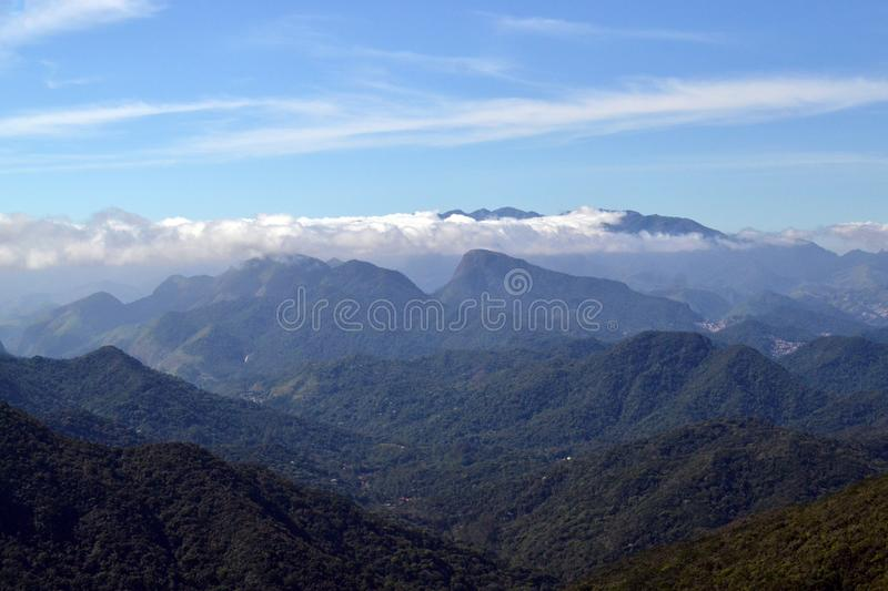 Montains view of the Bonet Rock in Petropolis, Rio de Janeiro, Brazil. Concept of adventure and freedom stock images