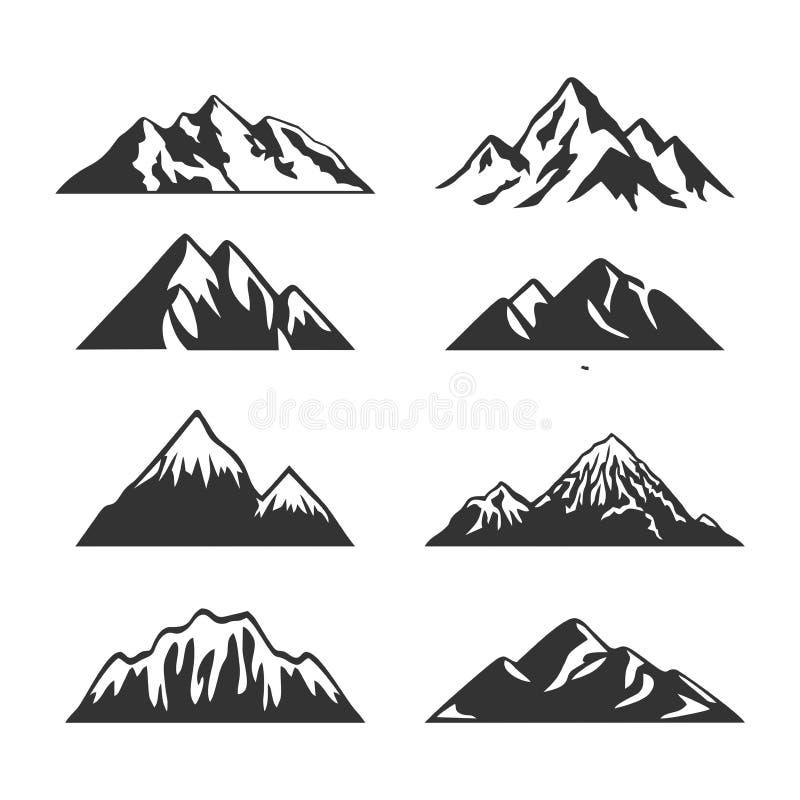 Montaje de imágenes prediseñadas de Silhouette Mountain stock de ilustración