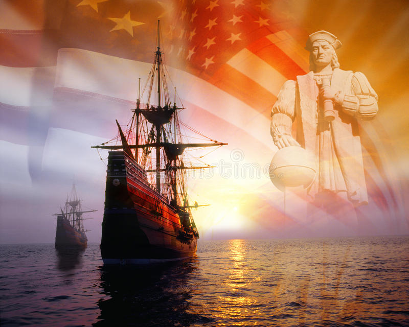 Montaje de la foto: Christopher Columbus, bandera americana, veleros imagen de archivo libre de regalías