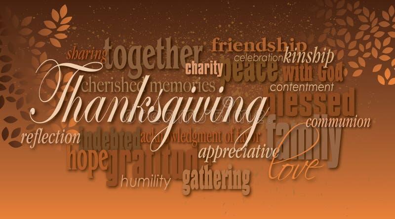 Montaje de la palabra del Día de Acción de Gracias con las hojas libre illustration