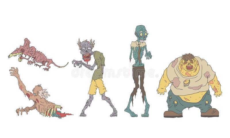 Montaje de zombies en descomposición, animales y personas sin vida, ilustración de vectores zombis apocalypse stock de ilustración