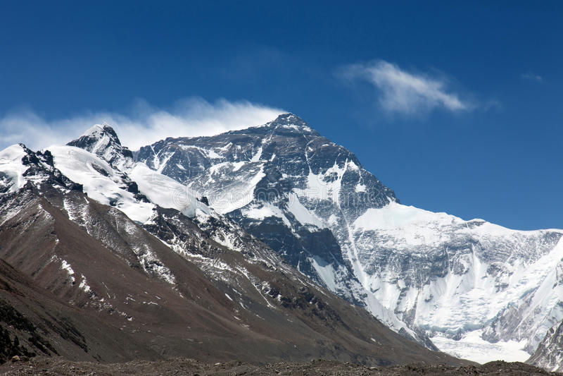 Montaje del norte Everest de la cara foto de archivo