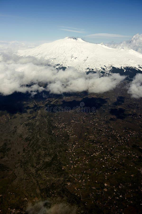 Montaje el Etna Sicilia imagen de archivo