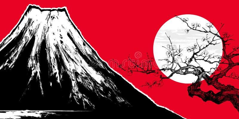 Montaje Fuji en Japón stock de ilustración
