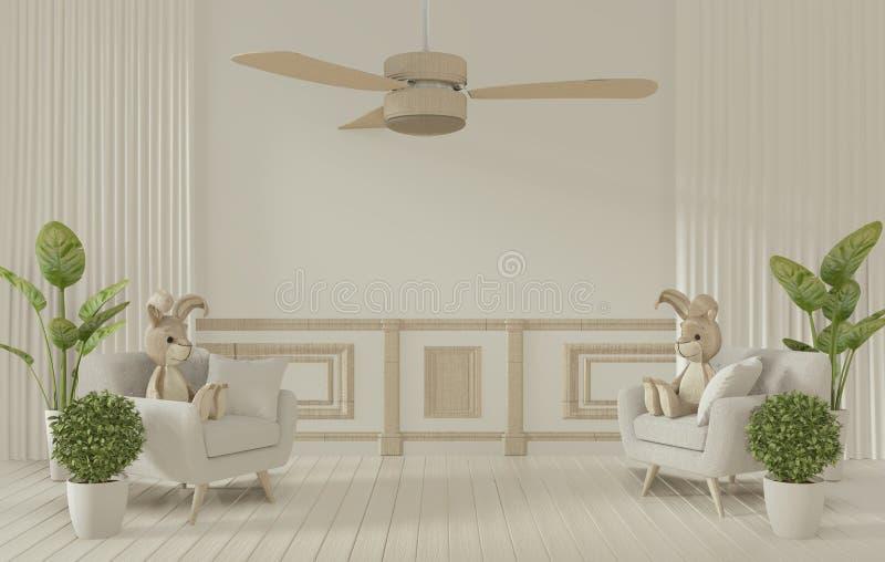 Montaje - Montaje y decoración de las habitaciones blancas Representación 3D ilustración del vector