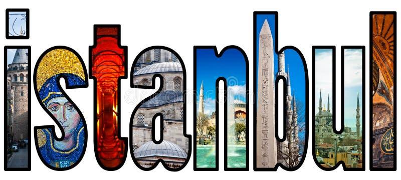 Montajes de la palabra de Estambul ilustración del vector