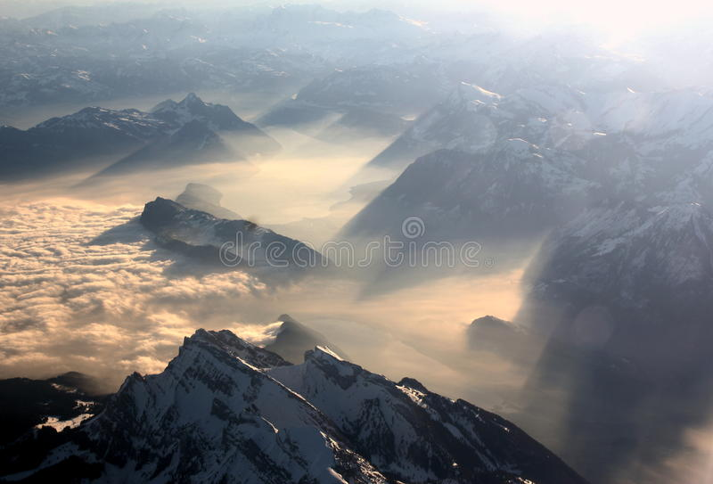 Montan@as suizas imagen de archivo libre de regalías
