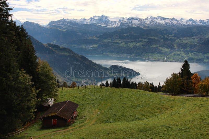 Montan@as y lago suizos lucerne fotos de archivo