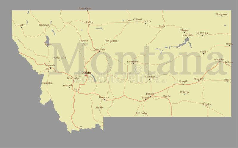 download montana accurate vector exact detailed state map with community stock vector illustration of land