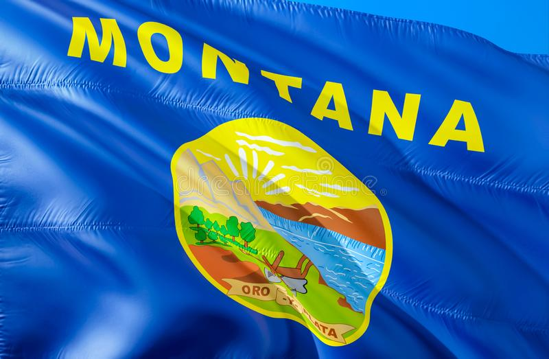Montana flag. 3D Waving USA state flag design. The national US symbol of Montana state, 3D rendering. National colors and National stock image