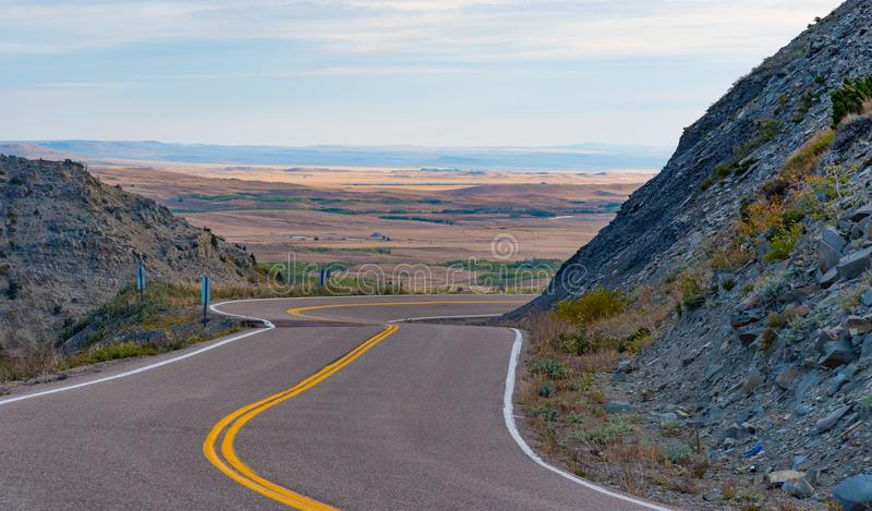 Montana Route 49. Route 49 along East Glacier, Monana. Taken near Kiowa royalty free stock images