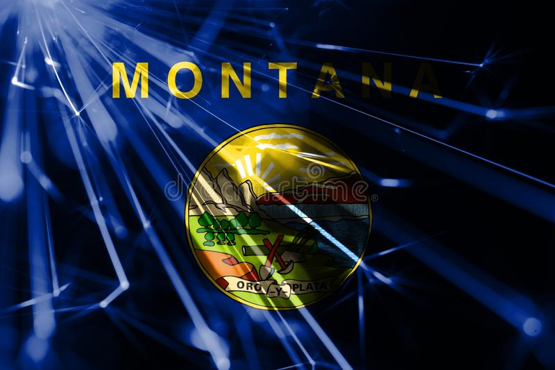 Montana shining fireworks sparkling flag. New Year 2019 and Christmas shiny futuristic party concept flags. Montana shining fireworks sparkling flag. New Year stock illustration