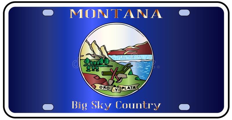 Montana State License Plate Flag illustrazione vettoriale