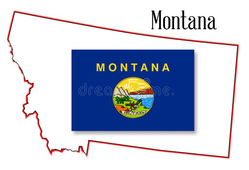 Montana State Map e bandiera royalty illustrazione gratis