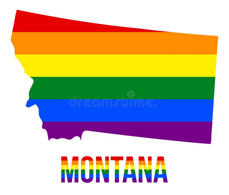 Montana State Map in LGBT Rainbow Flag Comprised Six Stripes With Montana LGBT Text. The Flag Comprised Six Stripes; Meaning to Each of The Colors: Life stock illustration