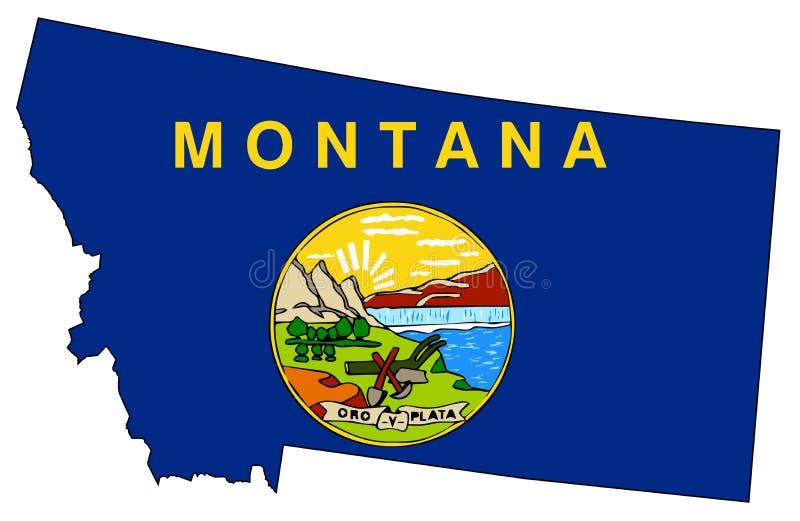 Montana State Outline Map e bandiera illustrazione vettoriale