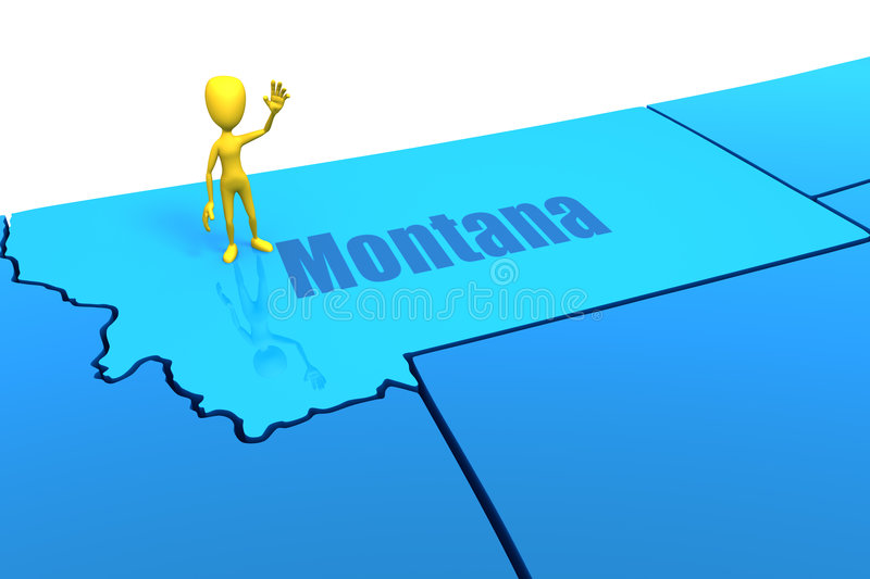 Download Montana State Outline With Yellow Stick Figure Stock Illustration - Image: 9012877