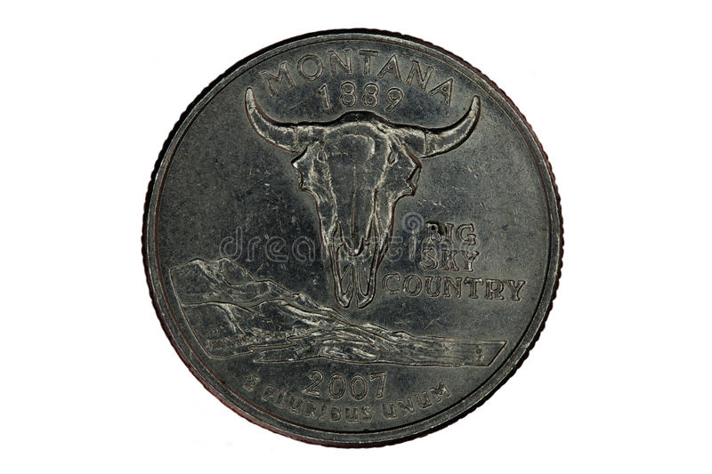 Montana United States Quarter Tail-Kant op Wit stock afbeelding