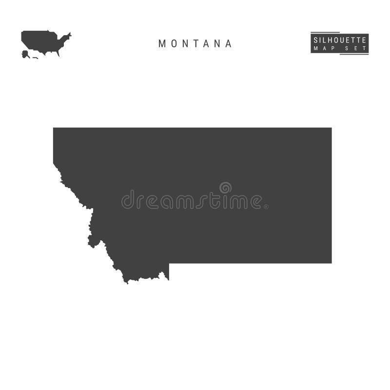 Montana USA påstår vektoröversikten som isoleras på vit bakgrund Hög-specificerad svart konturöversikt av Montana royaltyfri illustrationer