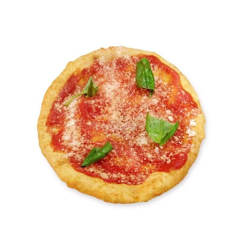 Montanara, gebratene Pizza mit Tomaten, Parmesankäse und Mozzarella stockfotografie