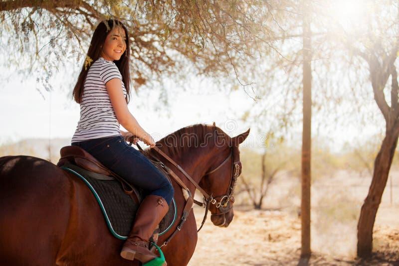 Montando um cavalo em um dia ensolarado fotos de stock
