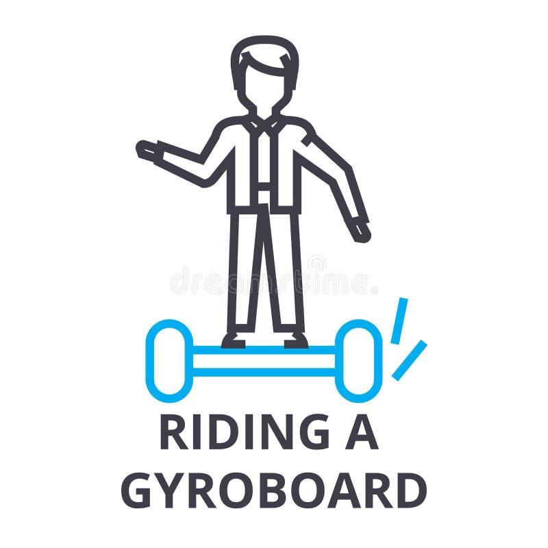 Montando um gyroboard alinhe finamente o ícone, sinal, símbolo, illustation, conceito linear, vetor ilustração royalty free