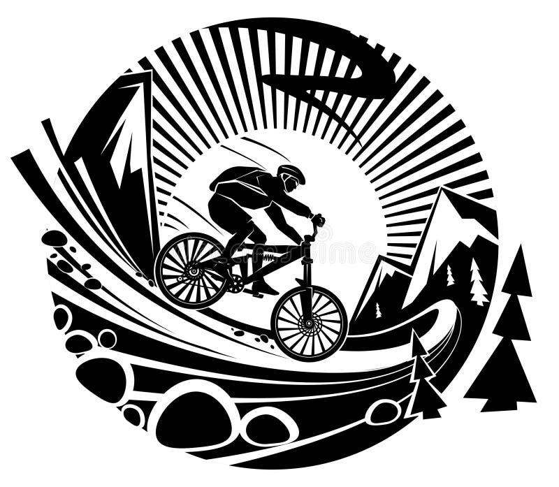 Montando uma bicicleta de montanha ilustração royalty free