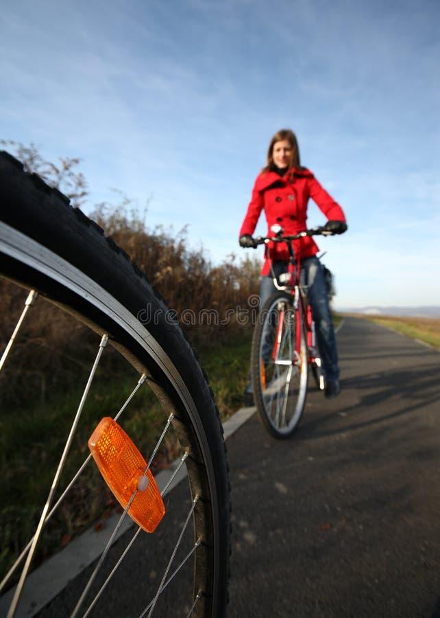 Montando uma bicicleta em um parque em um dia encantador imagem de stock