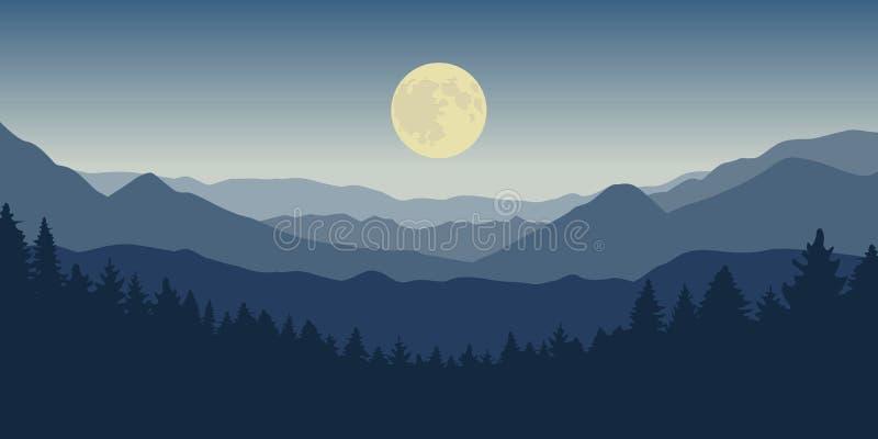Montanha azul e paisagem da floresta na noite com Lua cheia ilustração stock