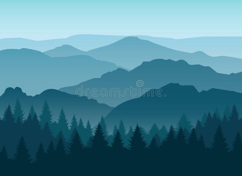 A montanha azul enevoada mostra em silhueta o fundo ilustração do vetor