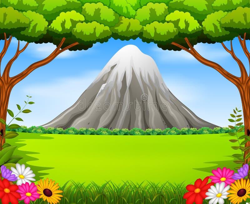 Montanha bonita na floresta ilustração royalty free