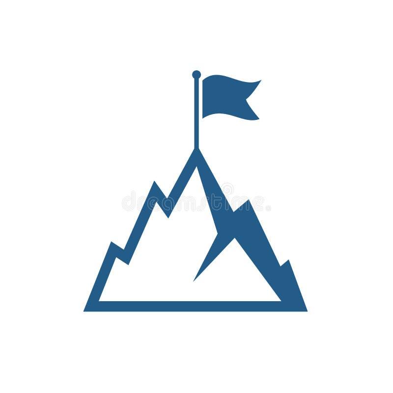 Montanha com ícone do vetor da bandeira ilustração stock