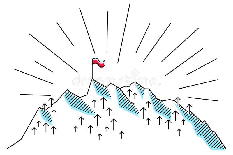 Montanha com a bandeira vermelha na linha conceptiva limpa superior, simples ilustração do vetor, metáfora para o sucesso ilustração do vetor
