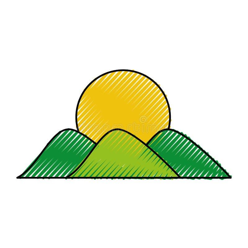 Montanha com desenho do sol ilustração royalty free