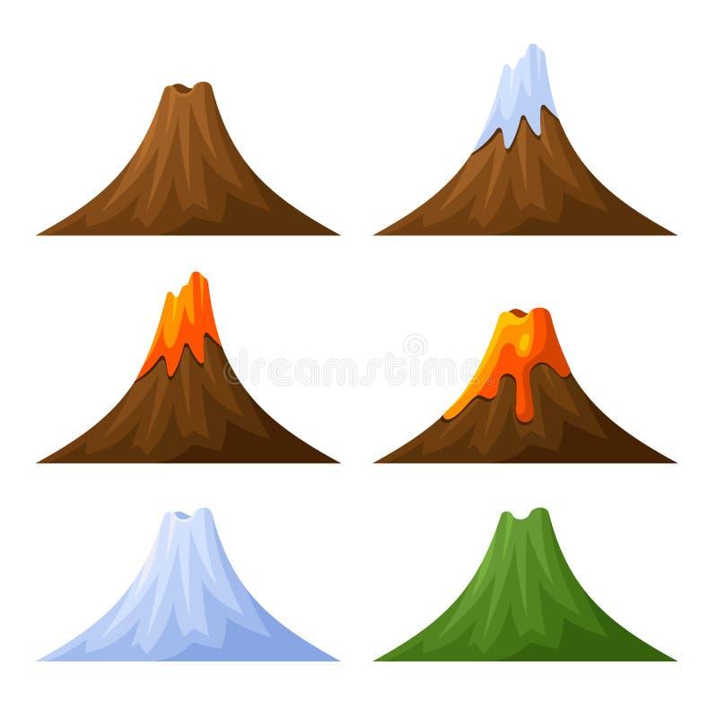 Montanha com grupo do vulcão, da floresta e da neve Vetor ilustração royalty free