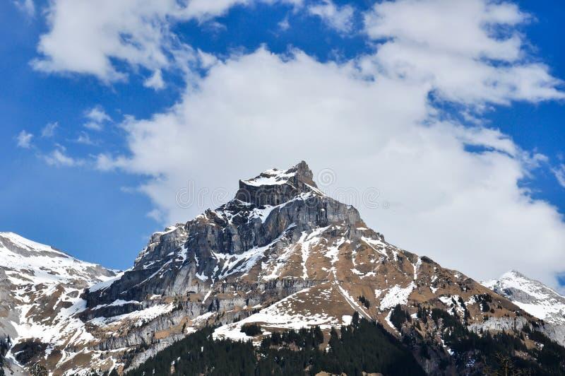 Montanha da neve na estação de mola em Suíça foto de stock