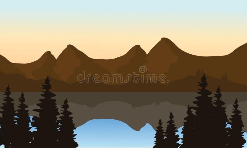 Montanha da paisagem no lago ilustração do vetor