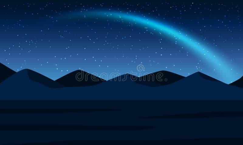 Montanha da paisagem da noite com estrela e Aurora ilustração stock