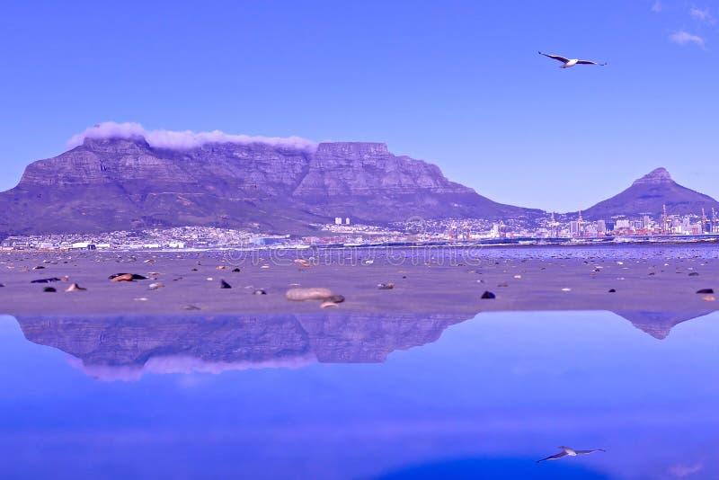 Montanha da tabela em Cape Town, África do Sul fotografia de stock