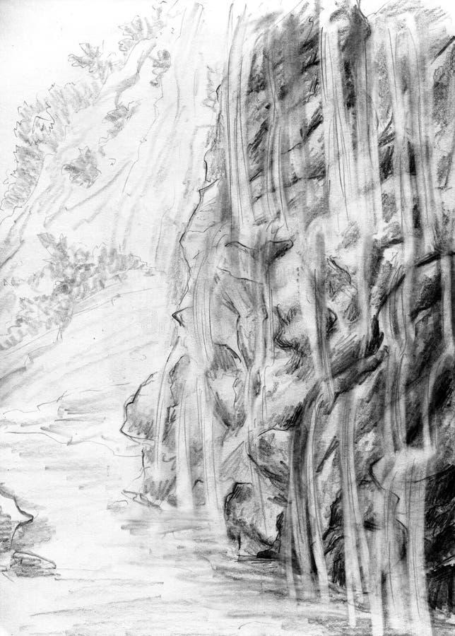 Montanha de cachoeiras pequenas ilustração stock