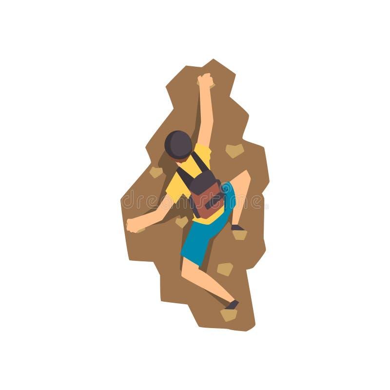 Montanha de escalada da rocha do montanhista masculino, alpinismo, esporte extremo e conceito da atividade de lazer, vista trasei ilustração royalty free